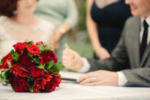 Red Bridal Bouquet- A Touch of Class Florist