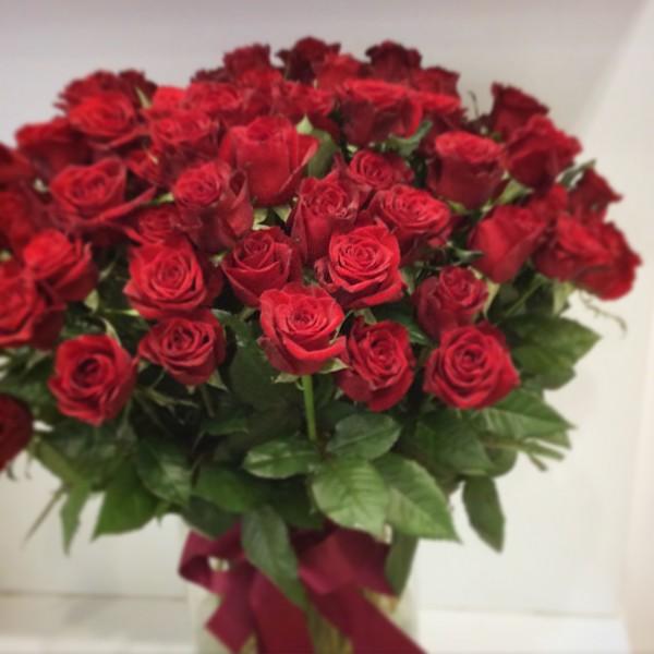 100 red roses in cylinder vase, close up image