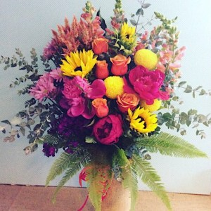 Sunkissed Vase Arrangement- deluxe value shown - A Touch of Class Florist