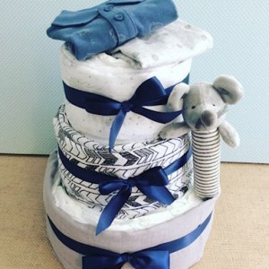 Three Tier Nappy Cake in Cool Tones with Rattle and two items of baby clothing - A Touch of Class Florist Perth