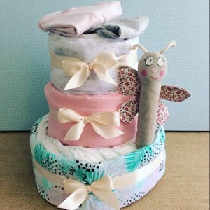 Three Tier Nappy Cake in Pastels with Rattle and 2 items of Baby clothing - A Touch of Class Florist Perth