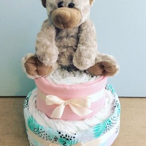 Two Tier Nappy Cake in Pastels with a cuddly soft toy - A Touch of Class Florist Perth