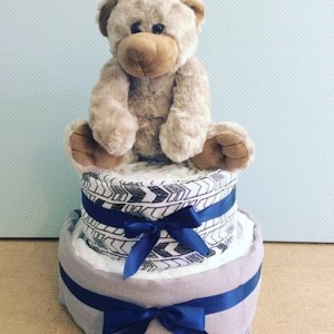 Two Tier Nappy Cake in Cool Tones with a cuddly teddy bear - A Touch of Class florist Perth