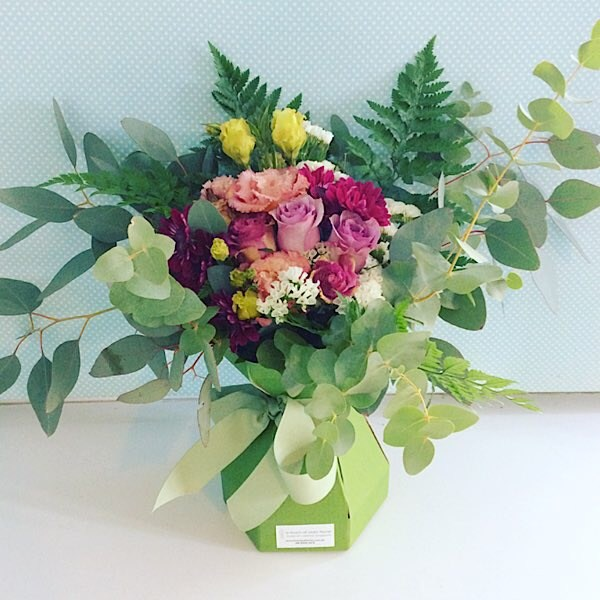 Berri-licious is made into a card vase arrangement with beautiful blooms in pinks and a touch of lilac/purple - A Touch of Class Florist Perth