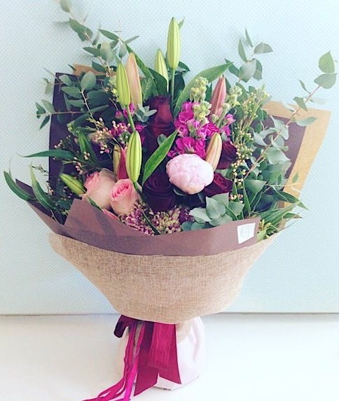 Sonnet Hand-tied Bouquet a beautiful collection of red, burgundy and pink blooms - A Touch of Class Florist Perth