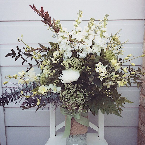Glass cylinder vase arrangement in white and green- A Touch of Class Florist