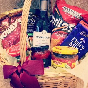 Hamper of wine and snacks in a picnic hamper basket- A Touch of Class Florist