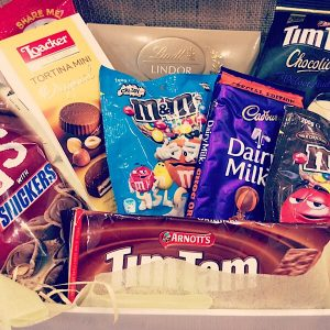 A hamper filled with chocolate for that sweet toothed friend