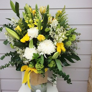Day At The Races Cylinder Vase Arrangement - A Touch of Class Florist