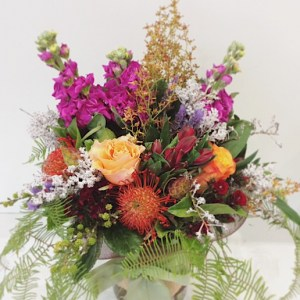 Textural Fishbowl Arrangement - A Touch of Class Florist