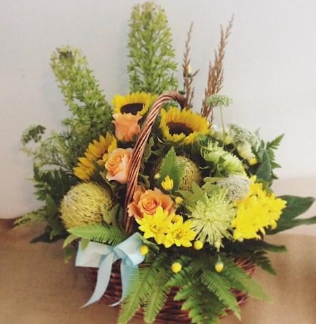 Radience Flower Basket Arrangement - A Touch of Class Florist