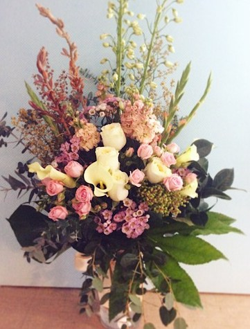 Large Seasonal Vase in Pastel Tones - A Touch of Class Florist