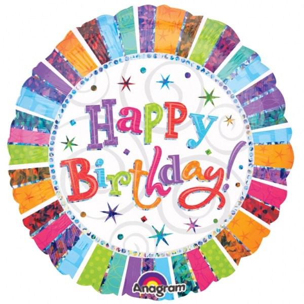 an 18 inch happy birthday helium balloon.