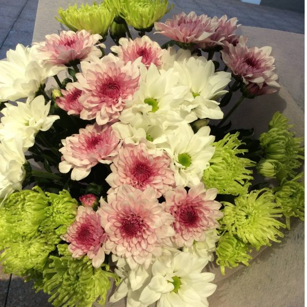 a hand tied bouquet of daisy chrysanthemums in pink, white and green.