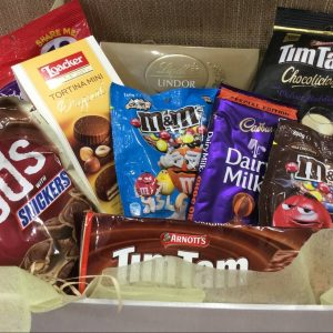 a hamper filled with chocolate products.