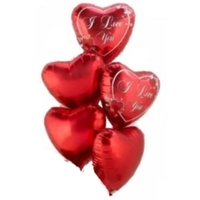 a balloon bouquet of 5 red heart shaped helium balloons.