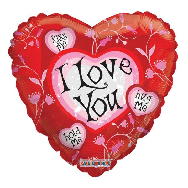 an 18 inch i love you helium balloon in red and pink