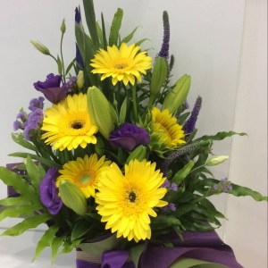 a striking yellow and purple front facing arrangement