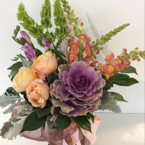 a front facing arrangement using interesting textures and close colours.