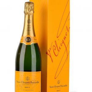 a 750ml bottle of veurve cliquot french champagne