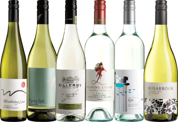 a selection of australian white wine