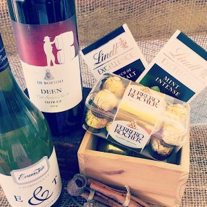 Gift hamper with 2 bottles of wine and some chocolates