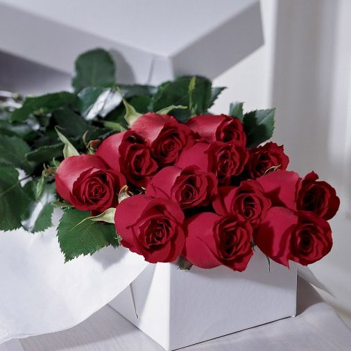 a white presentation box filled with 12 long stem red roses
