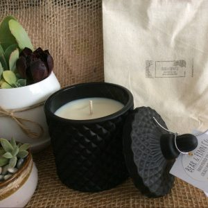 a bear and finn sandalwood vanilla scented candle in a black geo pot. pictured with two succulent pots.