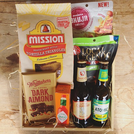 A deluxe Beer hamper including craft beers, snacks and chocolate