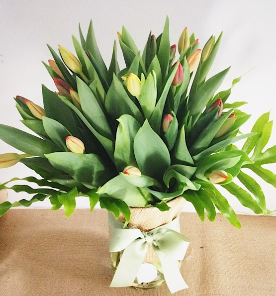 Tulip Vase Arrangement Deluxe Value