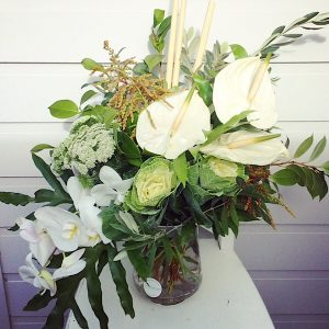 Glass Vase arrangement in white and green