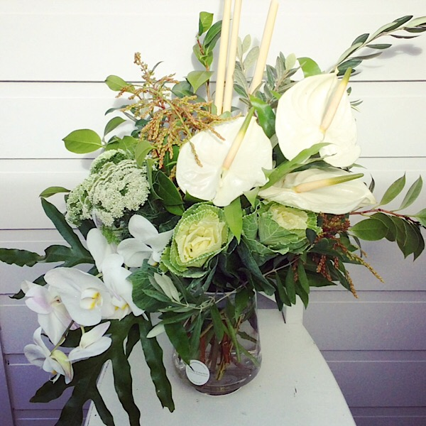Glass Vase arrangement in white and green- A Touch of Class Florist