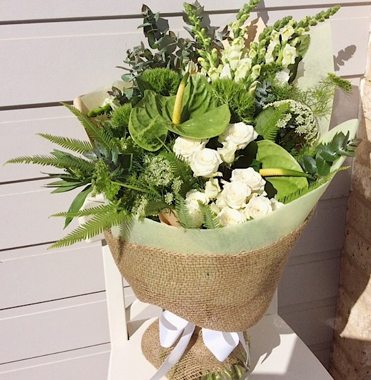 Florist Choice White and Green Hand-tied Bouquet - A Touch of Class Florist
