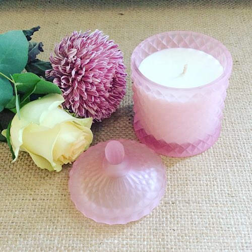 Bear and Finn Peony Rose Scented Soy Candle in a matte pink geocut vanity jar - A touch of Class Florist Perth