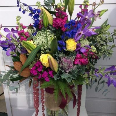 Scented Sensation Vase Arrangement a vibrant, colourful vase arrangement of flowers- A Touch of Class Florist