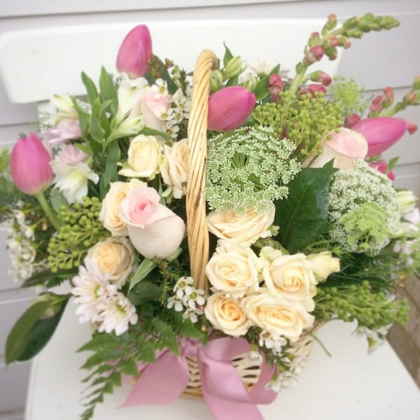 Softly Serene Flower Basket a pretty floral basket in soft pastel colours- A Touch of class Florist
