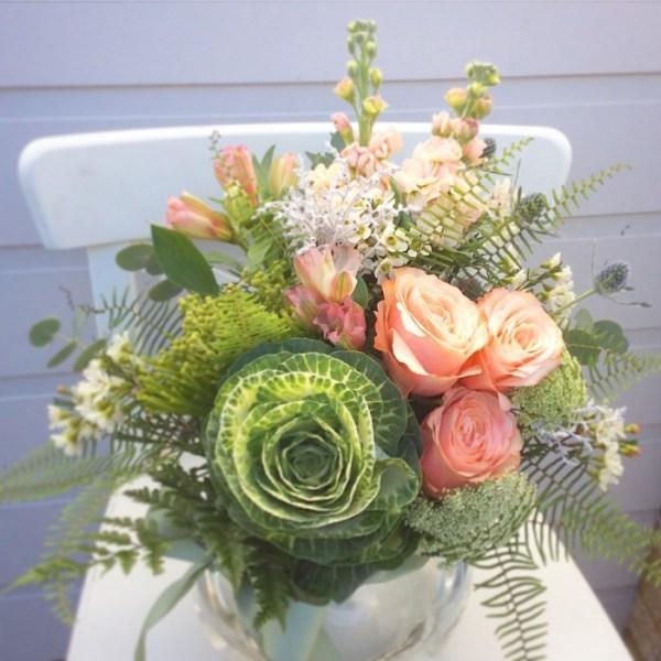 A Peachy Keen Fishbowl Arrangement - A Touch of Class Florist