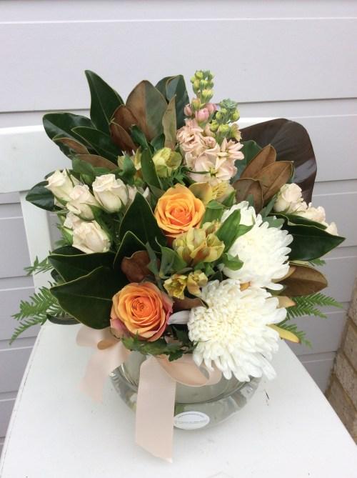A Peachy Keen Fishbowl Arrangement -A Touch of Class Florist