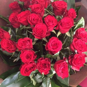 2 Dozen Red Roses hand-tied in a bouquet