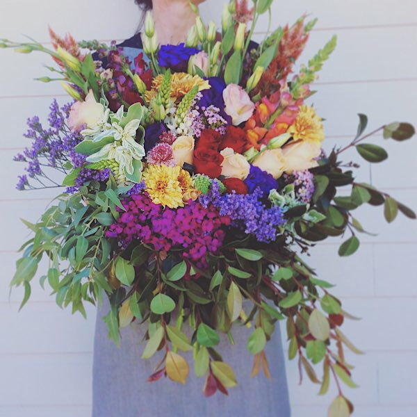 All The Colours Of The Rainbow Bouquet Deluxe value - A Touch of Class Florist