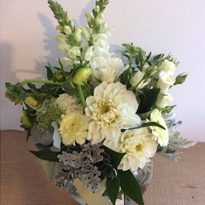 Fish Bowl Arrangement in White and Green, a stylish and classic arrangement of seasoanl blooms in white and green - A Touch of Class Florist