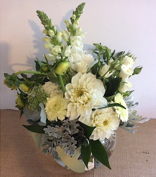 Classic White And Green Fishbowl Arrangement A Touch Of Class Florist