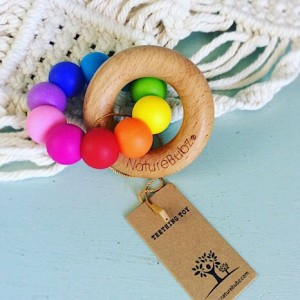Nature Bubz Teething Ring in Bright Rainbow Colours - A Touch of Class Florist Perth