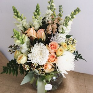 Peachy Keen Fishbowl Vase Arrangement - A Touch of Class Florist