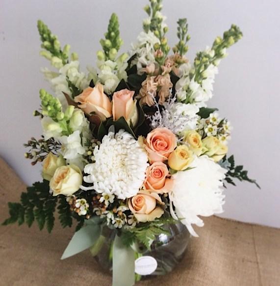 Peachy Keen Fishbowl Vase Arrangement - A Touch of Class Florist