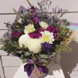 Florist Choice Bouquet in White, Purple and Green - A Touch of Class Florist