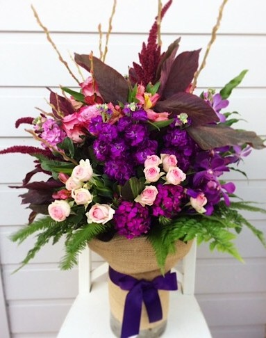 Large Seasonal Vase Arrangement in Bright Colours. Deluxe Value Shown- A Touch of Class Florist