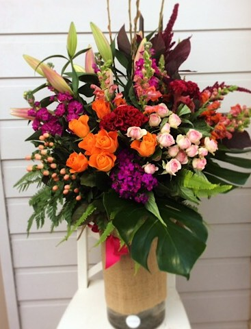 Large Seasonal Vase Arrangement in Bright Colours - A Touch of Class Florist
