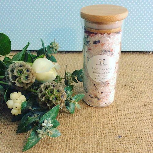 Salted Blis Bath Salts in Sandalwood, Rose and Lavender