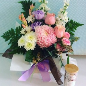 Soft and Pretty Box Arrangement with Salted Bliss Bath Salts -A Touch of class Florist Perth